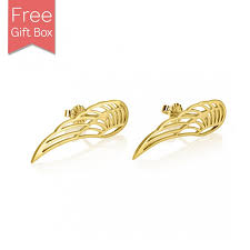 angel wing earrings stud angel wing earrings 24k gold plated collections