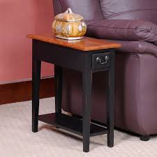Chair Side End Table Hardwood 10 Inch Chairside End Table In Black And Oak Walmart Com