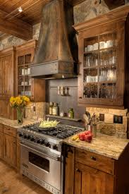 stone backsplash ideas kitchen rustic with metal range hood