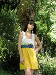paris lace and country chic yellow gold cotton bridesmaid dress