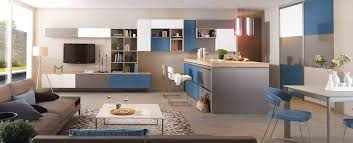 ilots central de cuisine cuisine moderne îlot central blanc gris et bleue ambiance patchwork