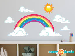 cloud wall decals etsy rainbow fabric wall decal sparkling decor with sun and clouds repositionable