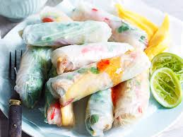 rice paper wrap chicken and mango rice paper rolls recipe food to