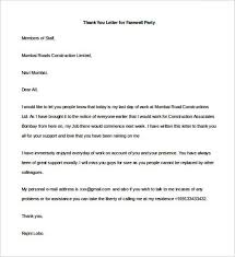 sample thank you letter for farewell party word format templatezet