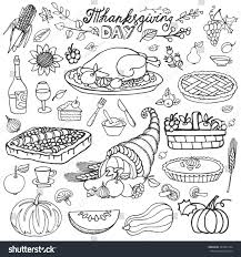 thanksgiving day iconsdoodle food setautumn harvest stock vector