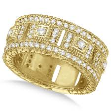 golden hand rings images Vintage wide band byzantine diamond ring 14k yellow gold 1 15ct jpg