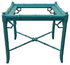 Turquoise Side Table Vintage Turquoise Faux Bamboo End Table