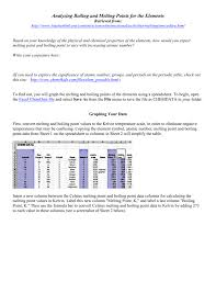 Spreadsheet To Html Analyzing Boiling And Melting Points For The Elements