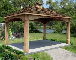 red cedar single roof open rectangle gazebos with metal roof