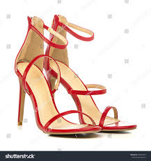 high heels sandals shiny red patent stock photo 559964239