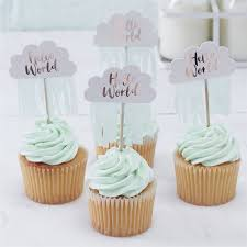 hello cupcake toppers hello world baby shower and 1st birthday party