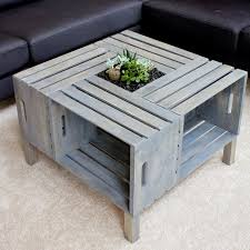 Diy Coffee Table Ideas Furniture Modern Square Shape Crate Diy Coffee Table Ideas Plus