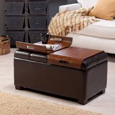 Coffee Table Ottoman Combination Coffee Table Furniture Brown Leather Square Ottoman Coffee Table