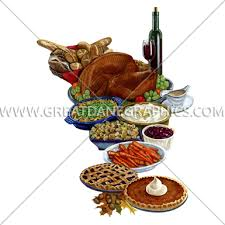 thanksgiving dinner production ready artwork for t shirt printing