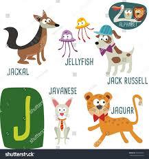 cute zoo alphabet vector j letter stock vector 360239690