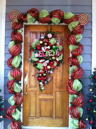 Florist Decorated Christmas Wreaths by Front Door Decorations With Floral Mesh Ribbon My Christmas
