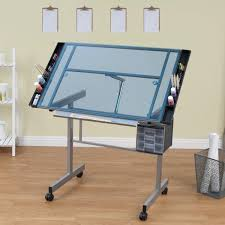 Drafting Craft Table Studio Designs Vision Silver Blue Glass Top Rolling Drafting Table