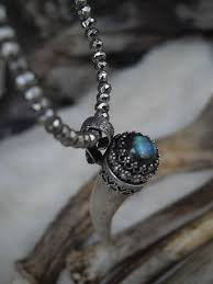 stone set necklace images Deer antler tip and labradorite stone set in a sterling silver cap JPG