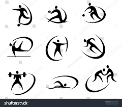 different kinds sports symbols competition tournament stock vector