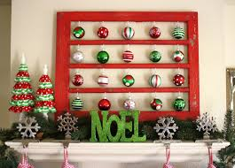 fetching picture of red and green christmas baubles holiday mantel