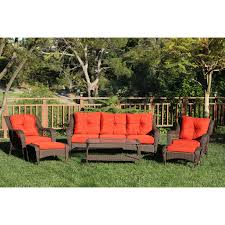 Wicker Outdoor Patio Furniture - crosley catalina 4 piece outdoor wicker curved conversation set