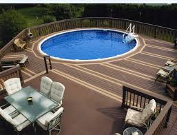 Above Ground Pool Landscaping Ideas Outdoor Beautiful Design Above Ground Swimming Pools With Decks