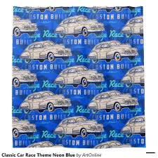 classic car race theme neon blue shower curtain