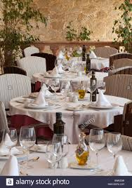 elegant dinner tables pics elegant dining tables in restaurant set with wine glasses stock