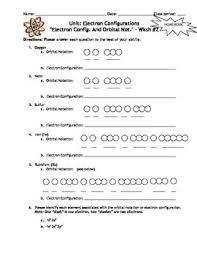 homework electron configurations homework worksheets set of 6