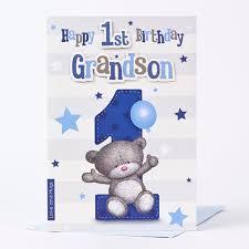 hugs 1st birthday card grandson only 1 49