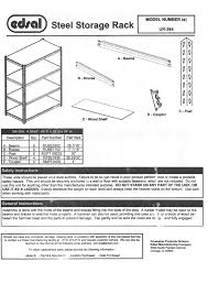 Edsal Shelving Parts by Edsal Ur 364blk Instructions Assembly