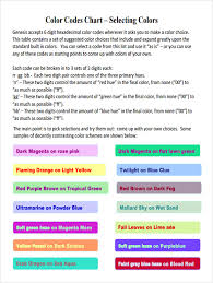 sample html color code chart 5 documents in pdf
