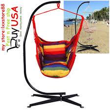 Tree Hanging Hammock Chair Red Outdoor Yard Tree Air Cotton Striped Hanging Hammock