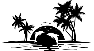dolphin palm tree sunset graphics design svg by vectordesign on zibbet