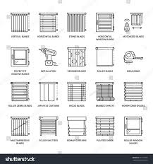 window blinds shades line icons various stock vector 622172966