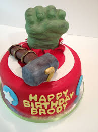 hulk smash cake with thor hammer hulk hand made of rkt