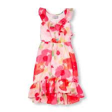 girls sleeveless floral print hi low ruffle maxi dress 17 97