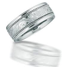 mens 8mm scroll engraved satin comfort fit wedding band with