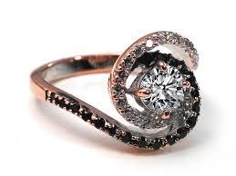 black gold wedding rings engagement ring swirl halo black white diamond