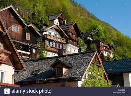 hallstatt at lake hallstatt austria alps stock photo royalty