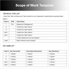Scope Of Work Template Excel Scope Of Work Templates Free Word Pdf Document Creative Template