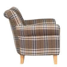 Check Armchair Foxhunter Fabric Tub Chair Armchair Dining Living Room Lounge Tc08