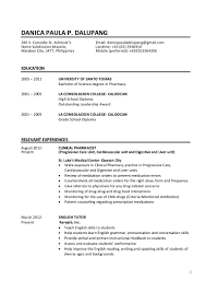 Clinical Pharmacist Resume Dalupang Resume