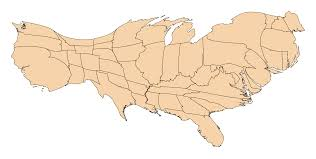Cartogram Map File Cartogram Of Us States By Number Of Geotagged Wikipedia