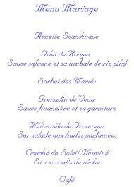 prã sentation menu mariage mariage