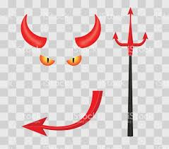 devil halloween background devil horns trident eyes and tail isolated on transparent