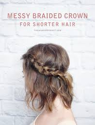 hairstyle with 2 shoulder braids messy braided crown for shorter hair tutorial wonder forest