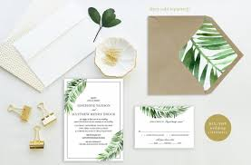 Destination Wedding Invites Printable Wedding Invitation Set Palm Leaves Destination
