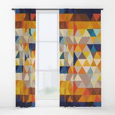 Orange And Blue Curtains Geometric Triangle Ethnic Inspired Pattern Orange Blue Window