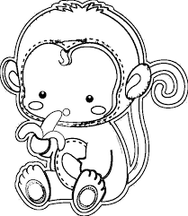 cute monkey coloring pages for kids printable animal coloring